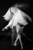 Blonde dancer, ballerina on grey background Royalty Free Stock Photography