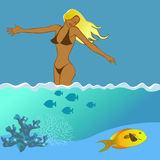 Fille et la mer Image stock