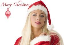 Blonde de Kerstman royalty-vrije stock fotografie