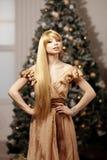 Blonde de lujo en Año Nuevo interior Muchacha de moda cel de la belleza joven Fotografía de archivo