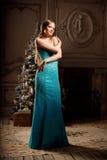 Blonde de lujo en Año Nuevo interior Muchacha de moda hermosa joven Imagen de archivo