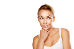 Blonde de vrouwendagdromen van Beautiul Stock Afbeeldingen