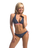Blonde del bikini della bandierina Fotografia Stock Libera da Diritti