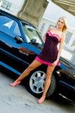 Blonde del coche de deportes Imágenes de archivo libres de regalías