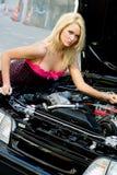 Blonde del coche de deportes Fotografía de archivo