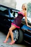Blonde dell'automobile sportiva Fotografie Stock Libere da Diritti