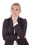 Blonde denkende Geschäftsfrau Stockfotos