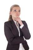 Blonde denkende Geschäftsfrau Stockbild