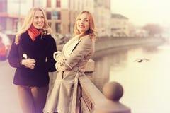 Blonde deux gaie pour une promenade Image stock