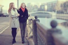 Blonde deux gaie pour une promenade Images libres de droits