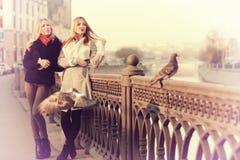 Blonde deux gaie pour une promenade Photos libres de droits