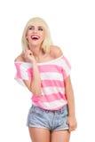 Blonde di risata Immagine Stock