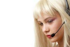 Blonde di servizio di assistenza al cliente Fotografie Stock Libere da Diritti