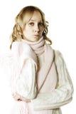 Blonde die blauw voelt Royalty-vrije Stock Foto's
