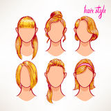 Blonde. different hairstyles Royalty Free Stock Images