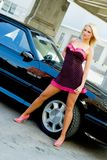 Blonde do carro de esportes Imagens de Stock Royalty Free