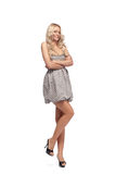 Blonde in dress isolated Royalty Free Stock Photo