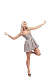 Blonde in dress isolated Stock Image