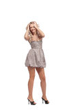 Blonde in dress isolated Stock Photography