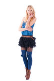 Blonde in a dress playfully posing Royalty Free Stock Photos