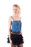 Blonde in a dress playfully posing Royalty Free Stock Photography