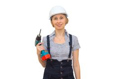Blonde with drill Royalty Free Stock Images