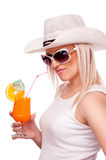 Blonde drinking orange juice Stock Images