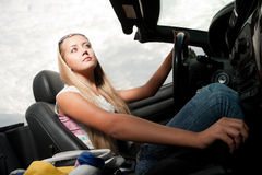 Blonde driver Royalty Free Stock Photo