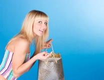 Blonde dulce con servicio Fotos de archivo libres de regalías