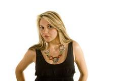 Blonde en alineada negra con los labios Imagen de archivo libre de regalías