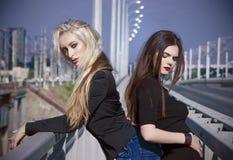 Blonde en Brunette stock foto's