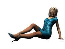Blonde en cuir bleu Photographie stock libre de droits