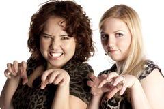 Blonde en de brunette in een rol van luipaarden Royalty-vrije Stock Fotografie