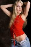 Blonde en el rojo tres Imagen de archivo libre de regalías