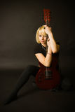 Blonde en Gitaar Stock Fotografie
