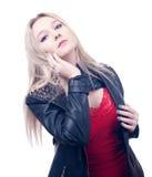 Blonde en la chaqueta de cuero Imágenes de archivo libres de regalías