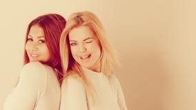 Blonde en mulatmeisje samen Stock Foto