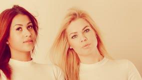 Blonde en mulatmeisje samen Stock Afbeelding