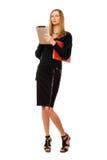 Blonde en negro con la PDA imágenes de archivo libres de regalías