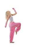 Blonde en ropa rosada Fotografía de archivo