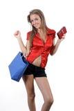 Blonde en shoping Imagen de archivo libre de regalías