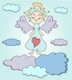 Blonde engel met purpere vleugels Stock Fotografie