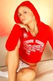 Blonde entspannende Frau Stockfotografie