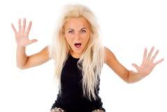 Blonde erschrockene Schreie Stockbilder
