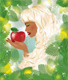 Blonde Eva with red apple Stock Photos