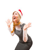 Blonde expects gifts Royalty Free Stock Photos