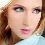 Blonde face makeup macro detail pink lipstick. Blonde face makeup macro detail pink fashion lipstick eyeshadow Stock Images