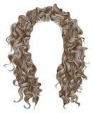 Blonde Farben des langen Lichtes der gelockten Haare Schönheitsmodeart perücke stock abbildung