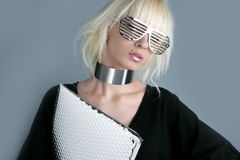 Blonde fashion futuristic businesswoman. Blonde fashion fuuristic businesswoman silver glasses royalty free stock photography