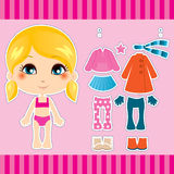 Blonde Fashion Girl. Sweet and cute blonde fashion girl clothes collection set Stock Photos